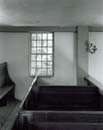 113T: Box Pews, Window, and Lamp, Walpole Meetinghouse